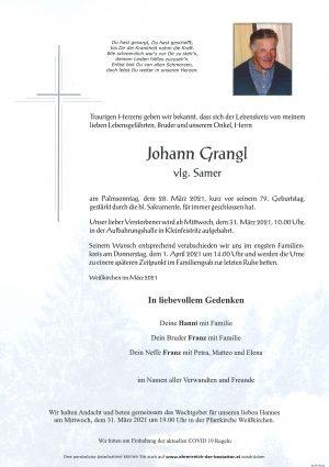 Portrait von Johann Grangl vlg. Samer