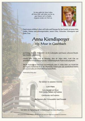 Portrait von Anna Kiendlsperger vlg. Moar in Gaschbach